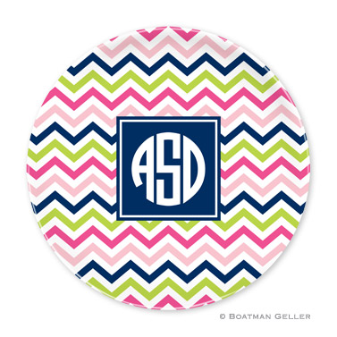 Chevron Pink, Navy & Lime Personalized Plate