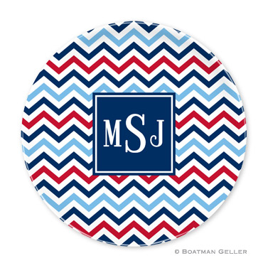 Chevron Blue & Red Personalized Plate