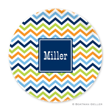 Chevron Blue, Orange & Lime Personalized Plate