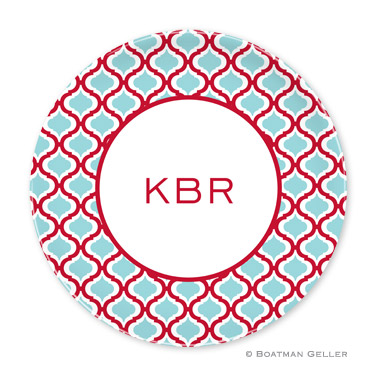 Kate Red & Teal Personalized Plate