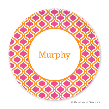 Kate Tangerine & Raspberry Personalized Plate