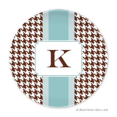 Alex Houndstooth Chocolate Personalized Plate