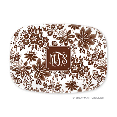 Classic Floral Brown Personalized Platter