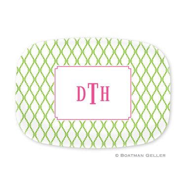 Bamboo Green & Raspberry Personalized Platter