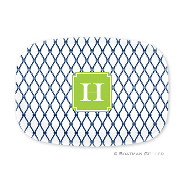 Bamboo Navy & Green Personalized Platter