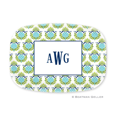 Pineapple Repeat Teal Personalized Platter