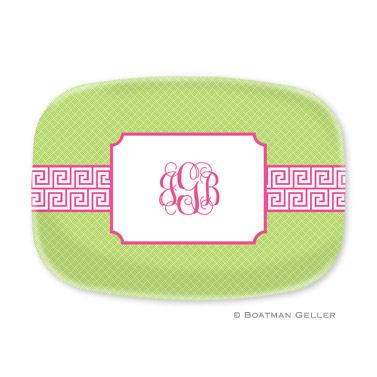Greek Key Band Pink Personalized Platter