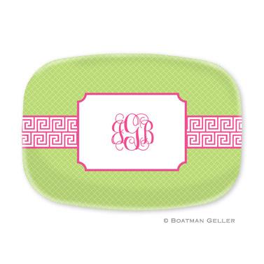 Greek Key Band Pink Personalized Platter