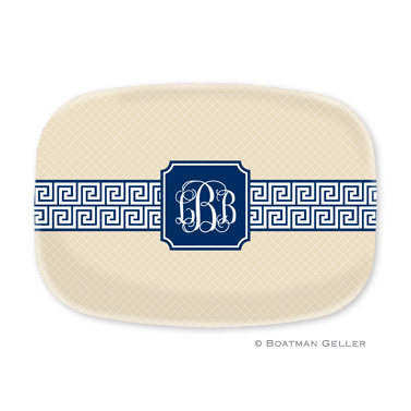 Greek Key Band Navy Personalized Platter