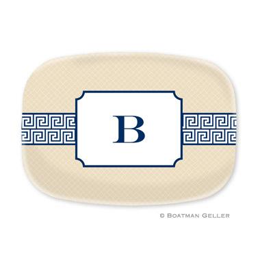 Greek Key Band Navy Personalized Platter