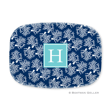 Coral Repeat Navy Personalized Platter