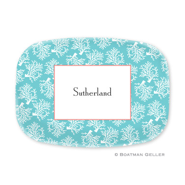 Coral Repeat Teal Personalized Platter