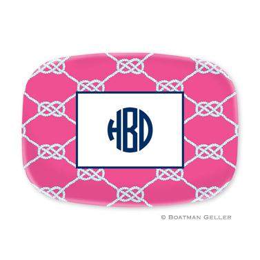 Nautical Knot Raspberry Personalized Platter