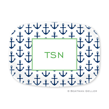 Anchors Navy Personalized Platter