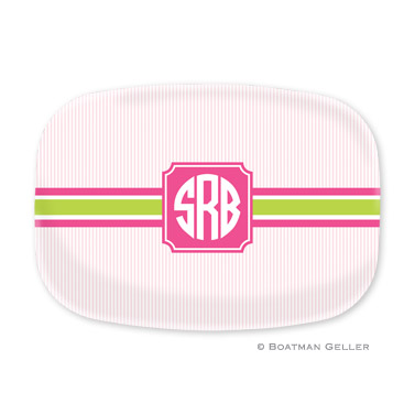 Seersucker Band Pink & Green Personalized Platter