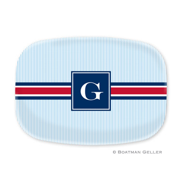 Seersucker Band Red & Navy Personalized Platter