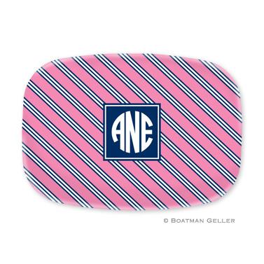 Repp Tie Pink & Navy Personalized Platter