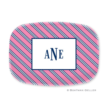 Repp Tie Pink & Navy Personalized Platter