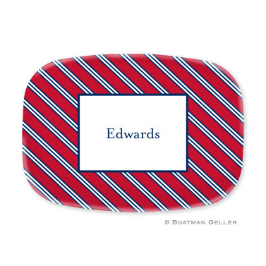 Repp Tie Red & Navy Personalized Platter