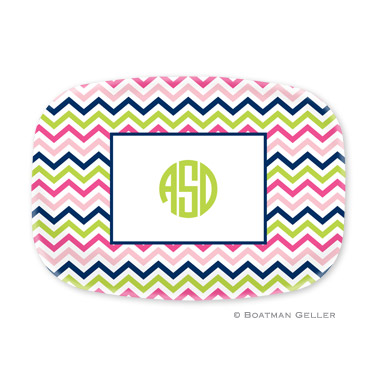 Chevron Pink, Navy & Lime Personalized Platter