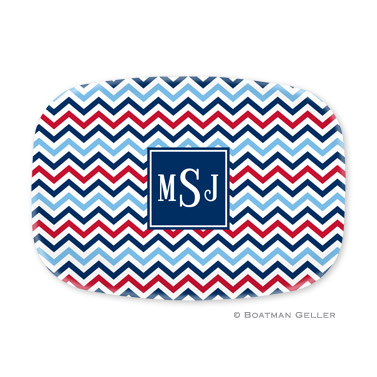 Chevron Blue & Red Personalized Platter