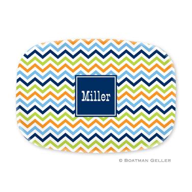 Chevron Blue, Orange & Lime Personalized Platter