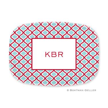 Kate Red & Teal Personalized Platter