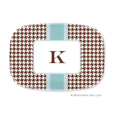 Alex Houndstooth Chocolate Personalized Platter