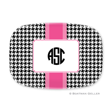 Alex Houndstooth Black Personalized Platter
