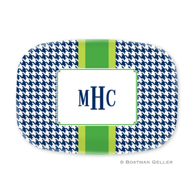 Alex Houndstooth Navy Personalized Platter