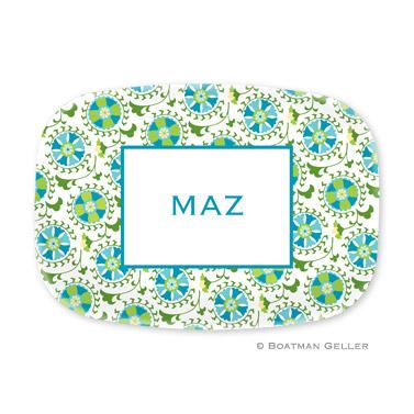 Suzani Teal Personalized Platter