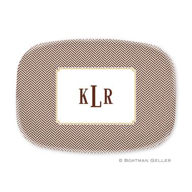 Herringbone Chocolate Personalized Platter