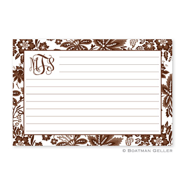 Classic Floral Brown Personalized Recipe Cards