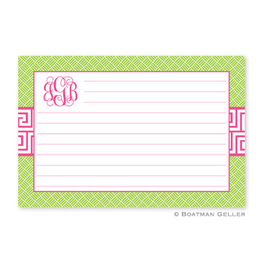Greek Key Band Pink Personalized Recipe Cards