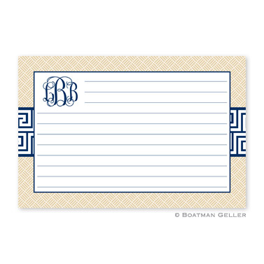 Greek Key Band Navy Personalized Recipe Cards