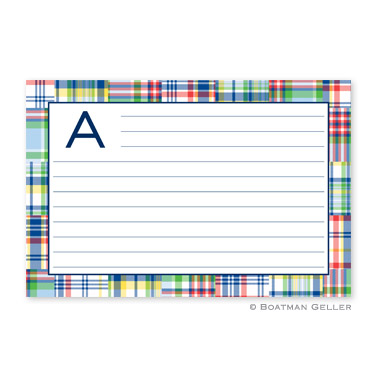 Madras Patch Blue Personalized Recipe Cards