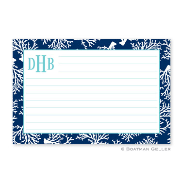 Coral Repeat Navy Personalized Recipe Cards