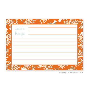 Coral Repeat Personalized Recipe Cards