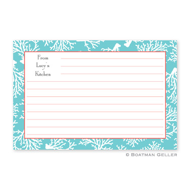Coral Repeat Teal Personalized Recipe Cards