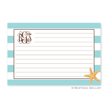 Stripe Starfish Personalized Recipe Cards