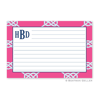 Nautical Knot Raspberry Personalized Recipe Cards