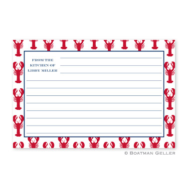 Lobsters Red Personalized Recipe Cards