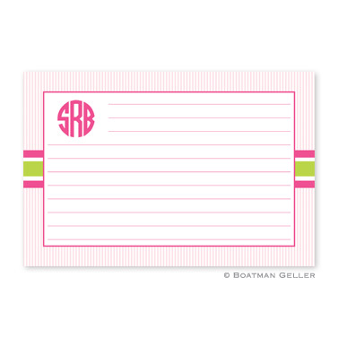 Seersucker Band Pink & Green Personalized Recipe Cards