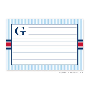 Seersucker Band Red & Navy Personalized Recipe Cards