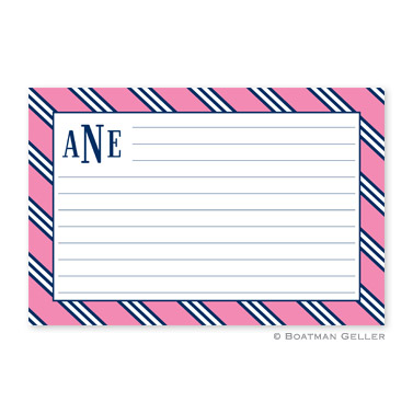 Repp Tie Pink & Navy Personalized Recipe Cards