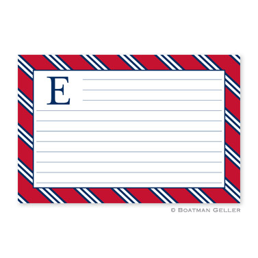 Repp Tie Red & Navy Personalized Recipe Cards