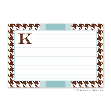 Alex Houndstooth Chocolate Personalized Recipe Cards
