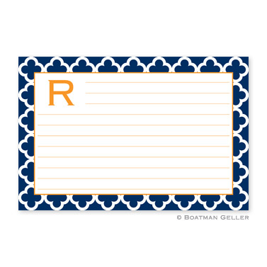 Bristol Tile Navy Personalized Recipe Cards