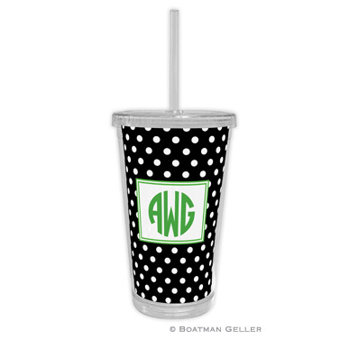 Polka Dot Black Beverage Tumbler