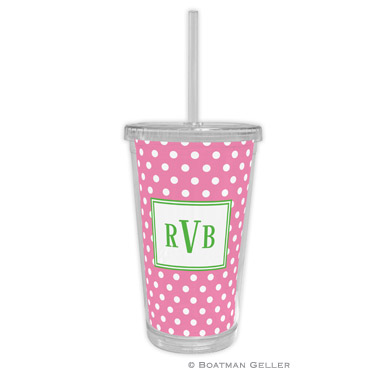 Polka Dot Bubblegum Beverage Tumbler